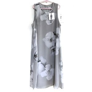 Calvin Klein Floral-Print Shift Dress Grey 6 NWT